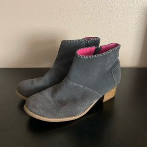 TOMS gray and pink booties